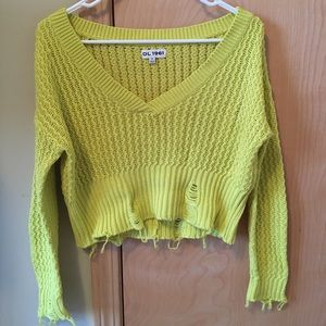DL1961 Cropped Distressed Sweater